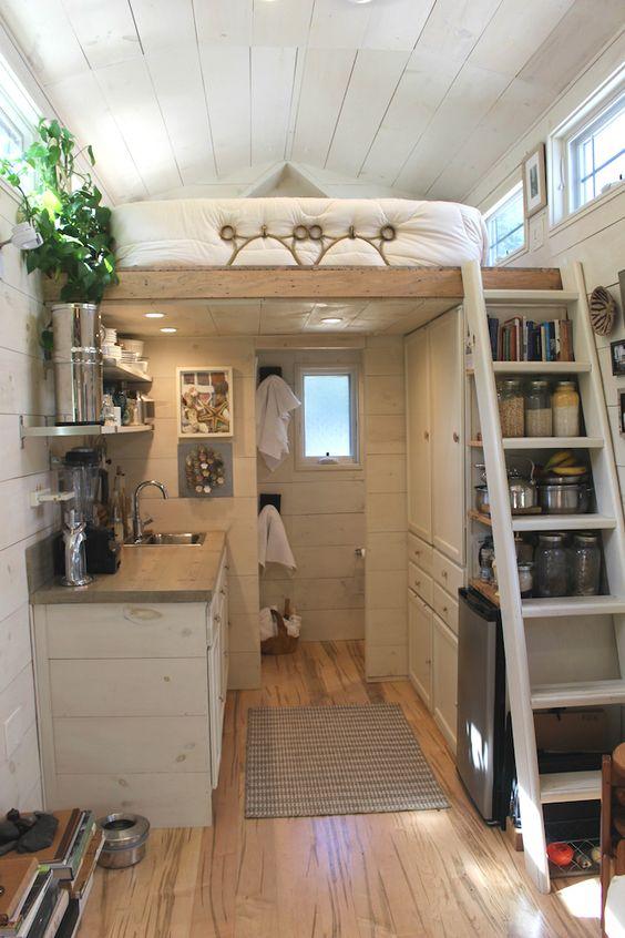 Tiny Hall House - Tiny House Loft Stairs | Simply Marie Tiny House Blog