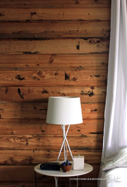 cedar-planked-wall-with-lamp Our Humble Abode   Simply Marie Tiny House Blog