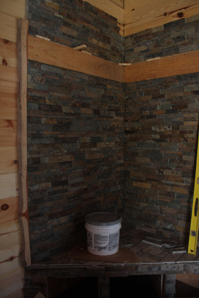 Stone fireplace in a Tiny House | Simply Marie Tiny House Blog
