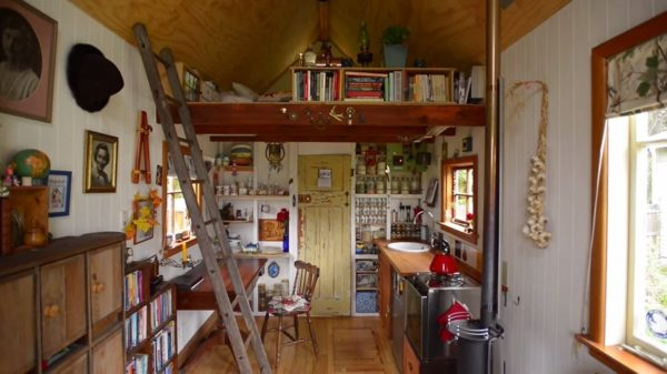 Tiny House Desk and Kitchen