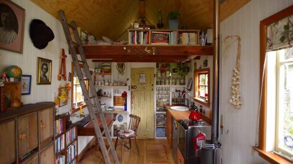 Tiny House Desk and Kitchen